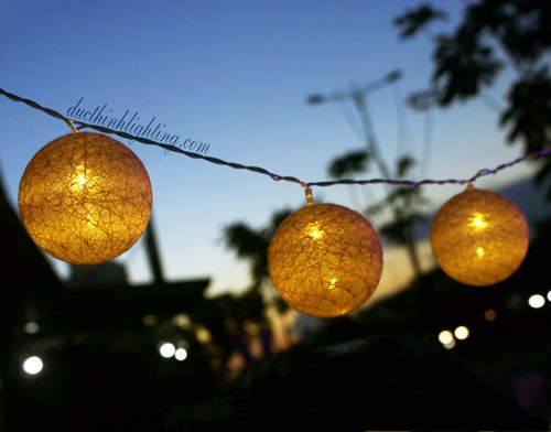 Dây Đèn LED Trái Châu Cotton Trắng