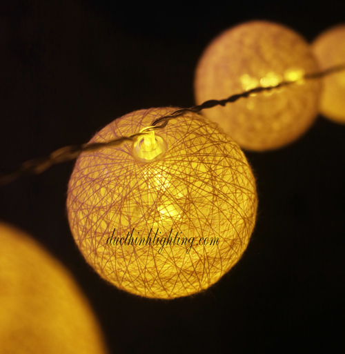 Dây Đèn LED Trái Châu Cotton Hồng