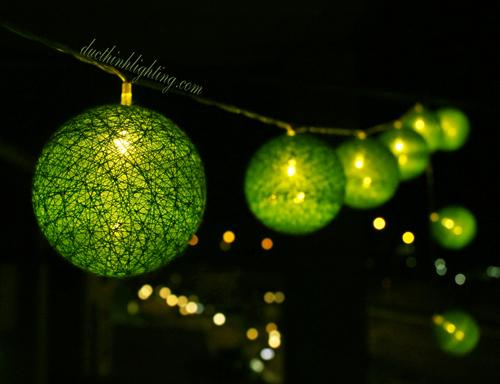 Dây Đèn LED Trái Châu Cotton Xanh Lá
