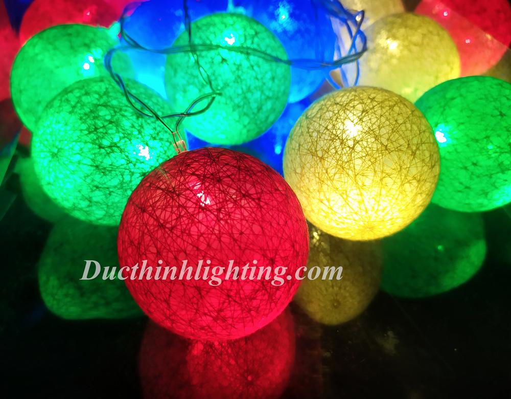 Dây Đèn LED Trái Châu Cotton Đủ Màu