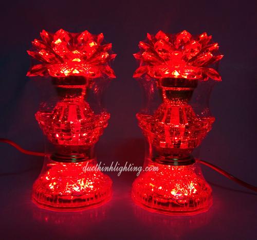 Đèn Sen LED Pha Lê Đỏ 23