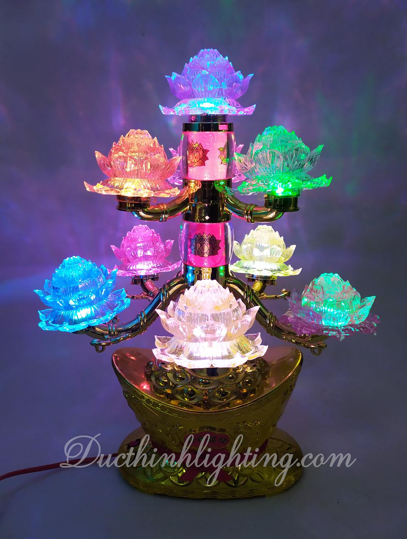 Đèn Sen Pha Lê LED Tháp Đổi Màu - 9 Ngọn