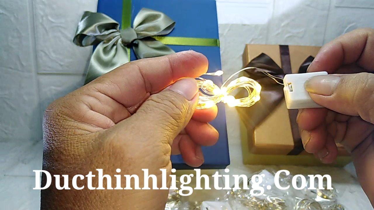 Dây đèn led dùng pin trang trí hộp quà