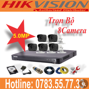 Trọn Bộ 08 Camera Hikvision 5.0mp