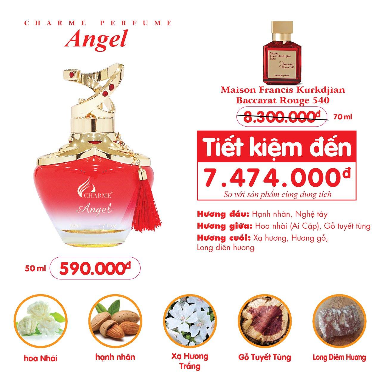 Nước Hoa Charme Angel 50ml Nữ Chính Hãng✔️Tặng Quà Hot