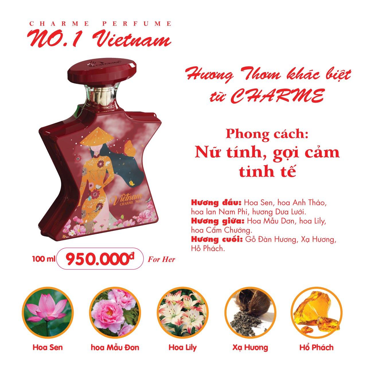 Nước Hoa Charme No.1 Vietnam 100ml Nữ Chính Hãng✅Tặng Quà Hấp Dẫn