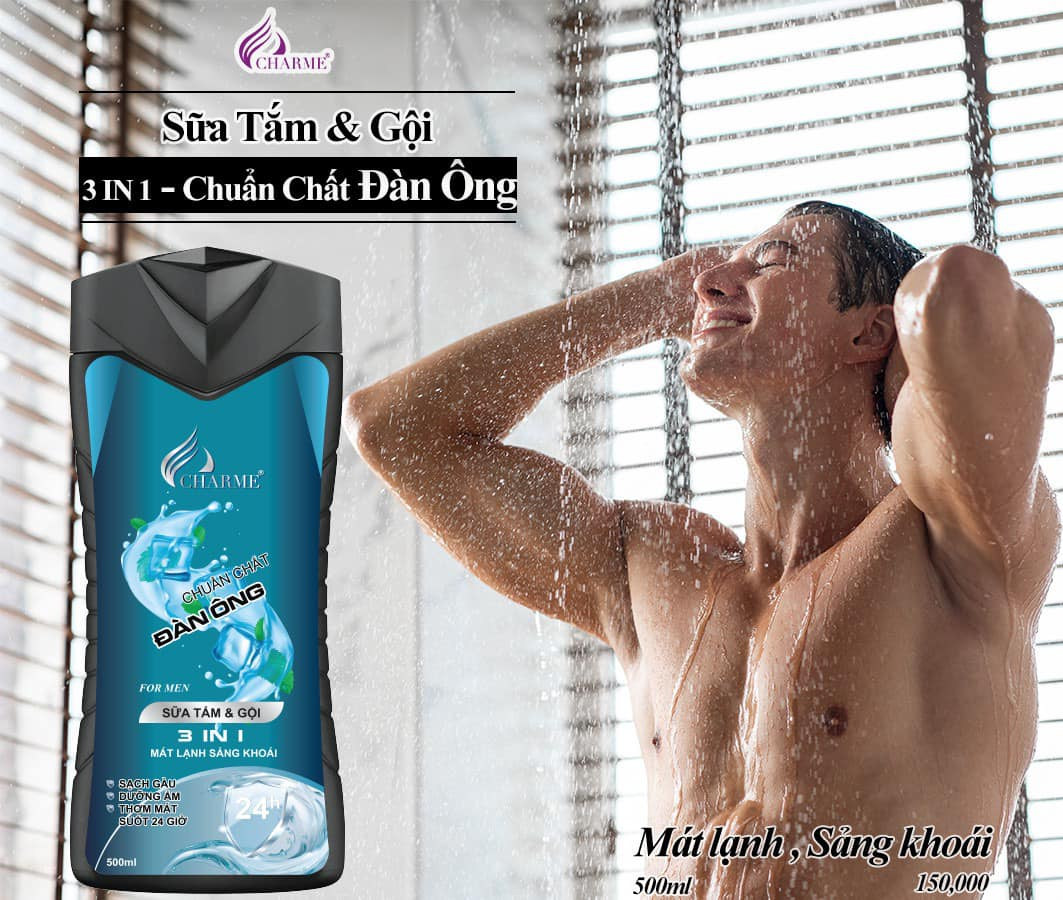 Sữa Tắm Gội Charme Cho Nam 500ml Chính Hãng