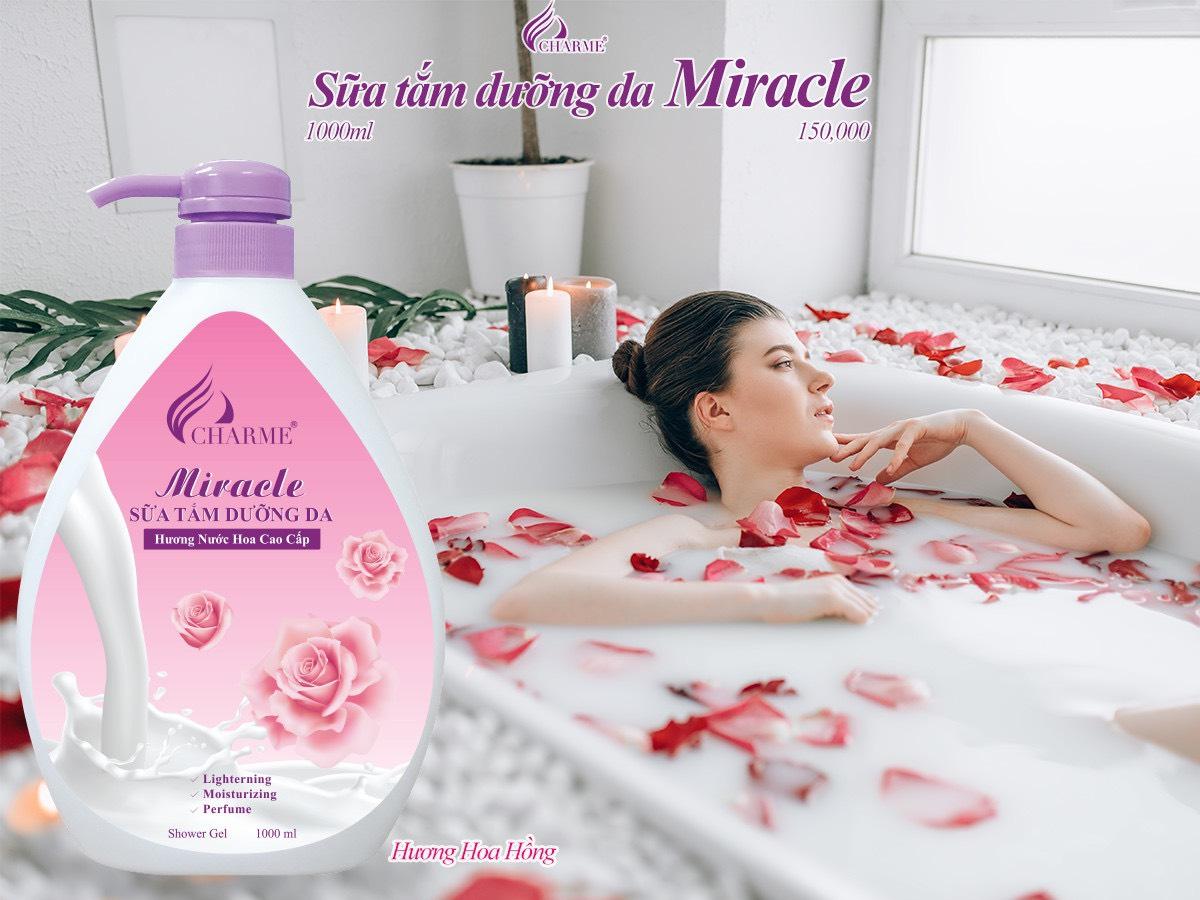 Sữa Tắm Nước Hoa Charme Miracle 1000ml Cho Nữ Hương Hoa Hồng