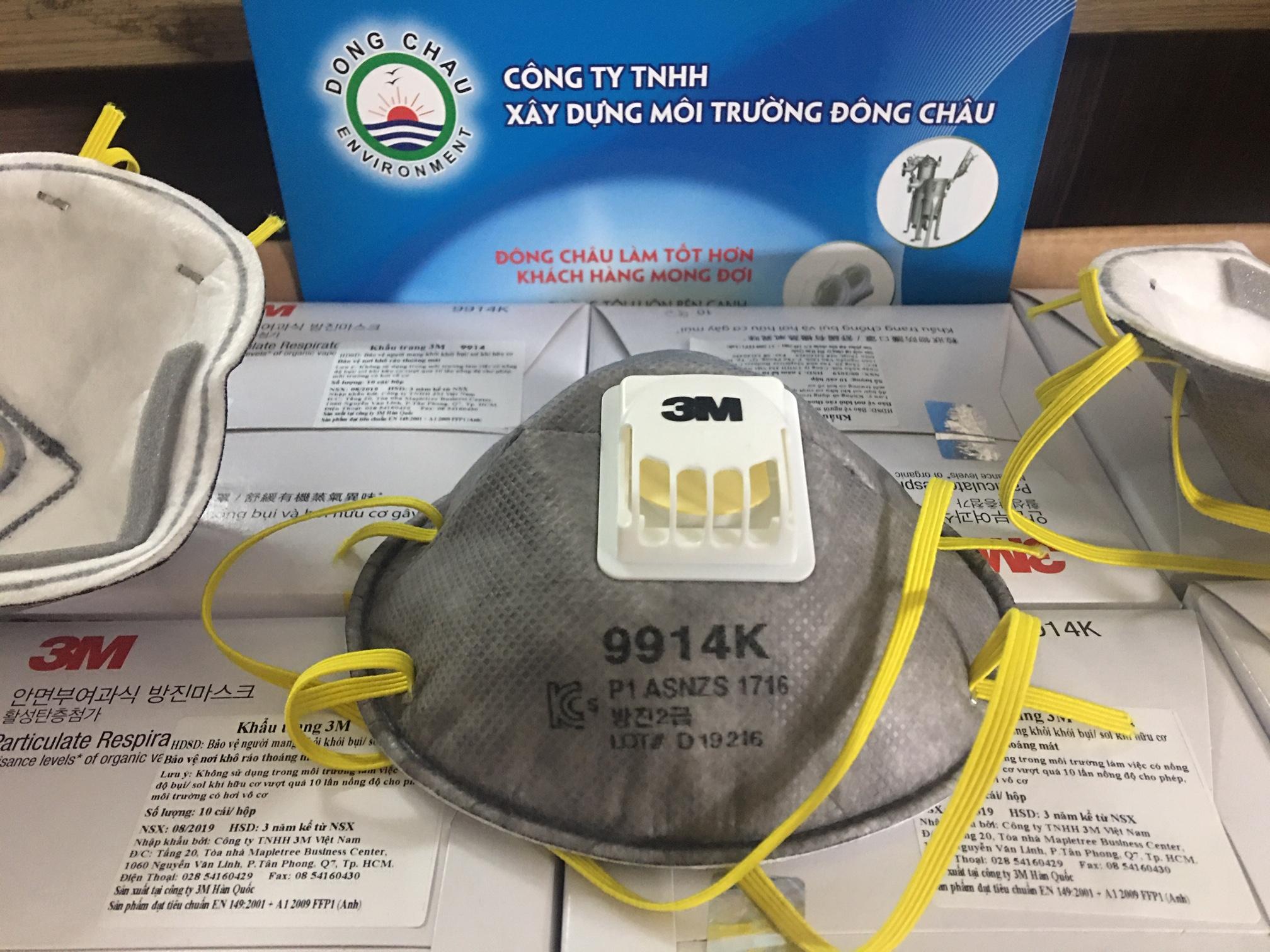 Khẩu trang than hoạt tính hấp thu hữu cơ có van 3M 9914K