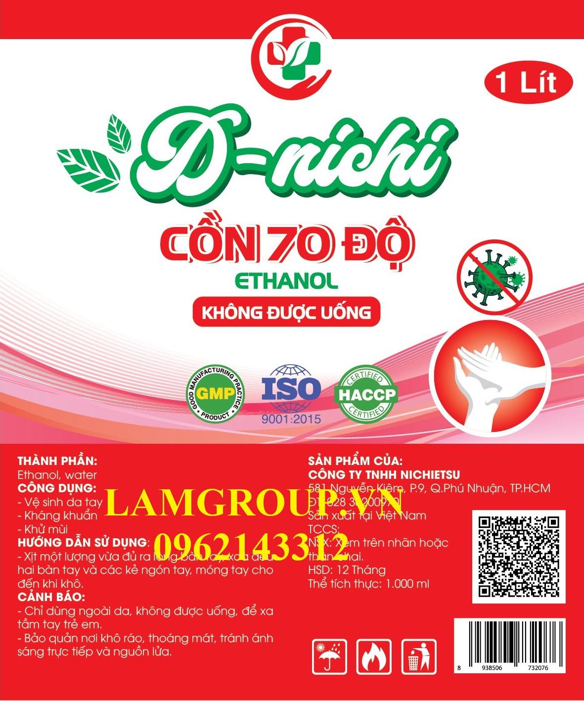 Xưởng gia công Cồn Ethanol Can 30 lít 5 lít chai xịt 100ml 500ml 1000ml HCM city