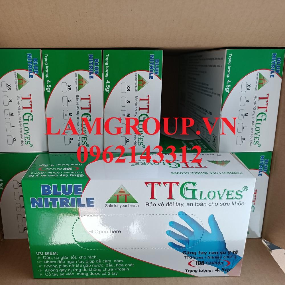 Găng tay y tế cao su tổng hợp Nitrtile TT Gloves 4,5g xanh