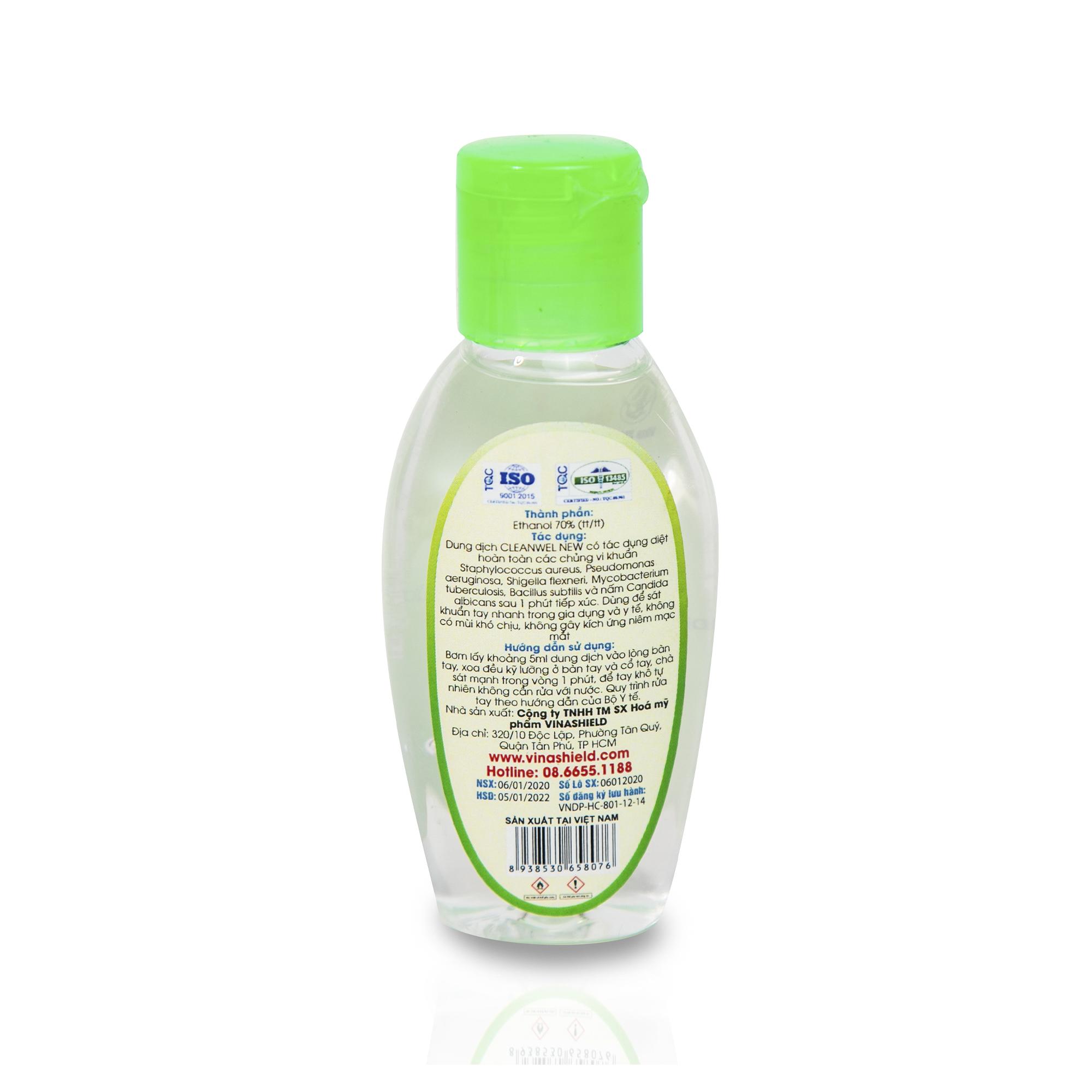 Dung dịch sát khuẩn tay nhanh CLEANWEL NEW - 50 ml chai Oval nắp bật