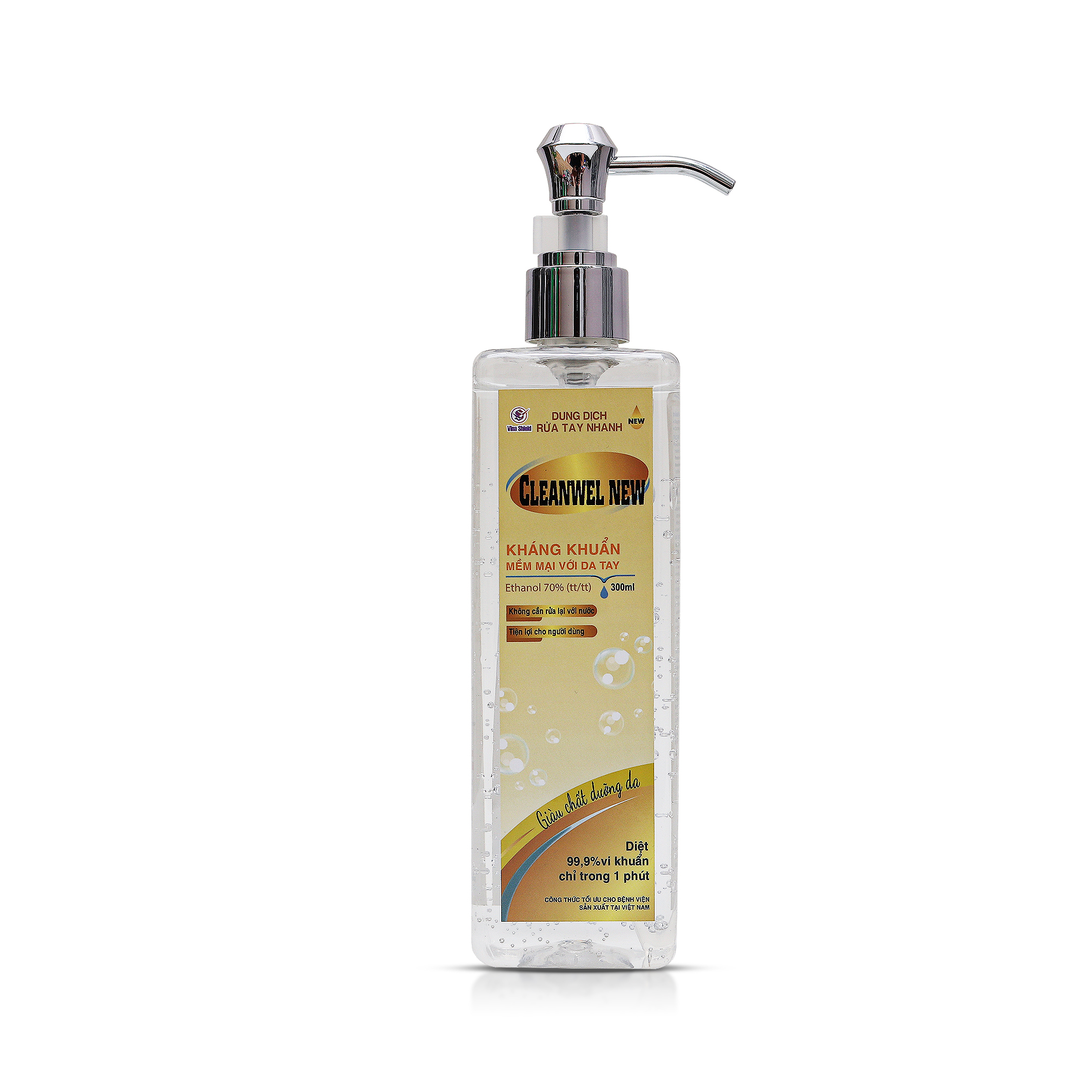 Dung dịch sát khuẩn tay nhanh CLEANWEL NEW Luxury - Chai 300 ml Vòi xi bạc có khóa