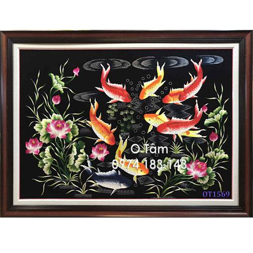 Tranh thêu cá chép hoa sen OT 1569