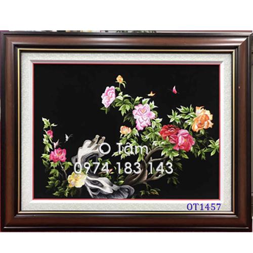 Tranh thêu hoa mẫu đơn ot 1457
