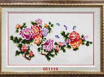 Tác phẩm tranh thêu cá chép hoa sen được anh chị Hoàng Trang chọn làm món quà cưới