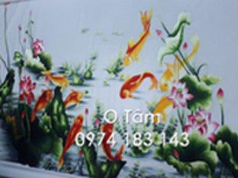 Tranh thêu cá chép hoa sen thực hiện theo yêu cầu của ngân hàng Viettinbank chi nhánh Trường Chinh (Tân Bình- HCM)