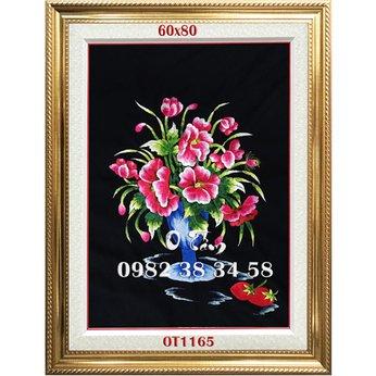 Tranh thêu tặng khai trương -  Tranh thêu bình hoa OT 1165