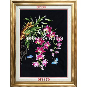 Tranh thêu tặng khai trương - tranh thêu hoa lan OT 1170