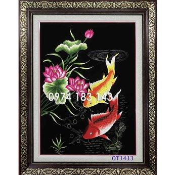 Tranh thêu cá chép hoa sen OT 1413