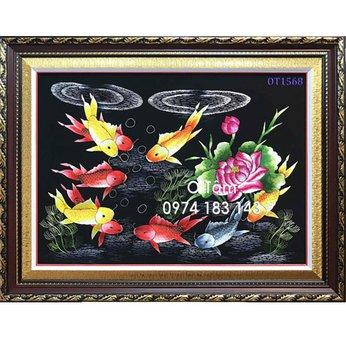 Tranh thêu cá chép hoa sen OT 1568