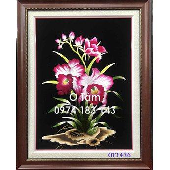 Tranh thêu hoa lan OT 1436