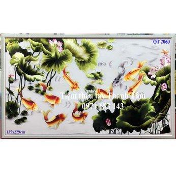 Tranh thêu cá chép hoa senOT 2060