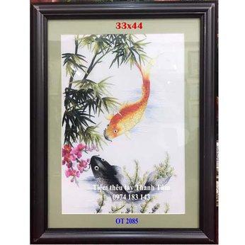 Tranh thêu cá chép hoa senOT 2085