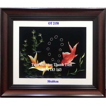 Tranh thêu cá chép hoa senOT 2158