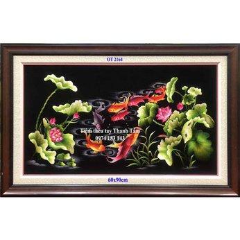 Tranh thêu cá chép hoa senOT 2164