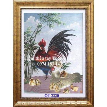 Tranh thêu con gàOT 2220