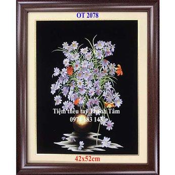 Tranh thêu hoa cúc OT 2078