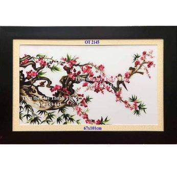 Tranh thêu hoa đàoOT 2145