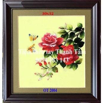 Tranh thêu hoa hồngOT 2004