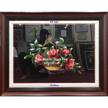 Tranh thêu hoa hồngOT 2163