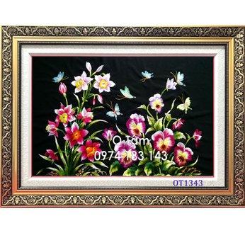 Tranh thêu hoa lanOT 1184
