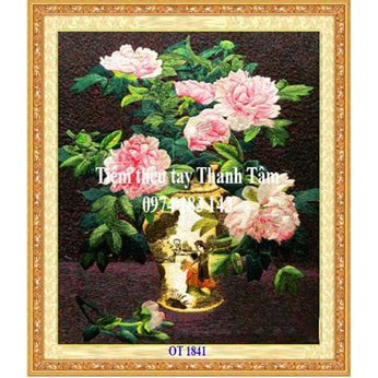 Tranh thêu hoa mẫu đơn OT 1841