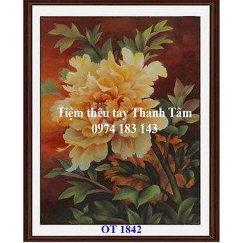 Tranh thêu hoa mẫu đơn OT 1842