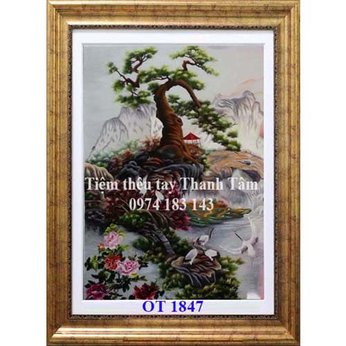 Tranh thêu hoa mẫu đơn OT 1847
