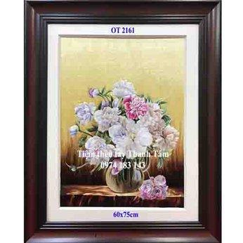Tranh thêu hoa mẫu đơnOT 2161