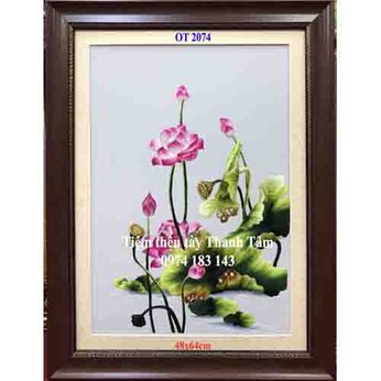 Tranh thêu hoa senOT 2074