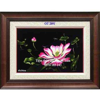Tranh thêu hoa senOT 2091
