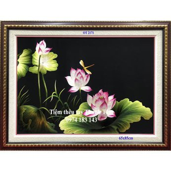 Tranh thêu hoa senOT 2171