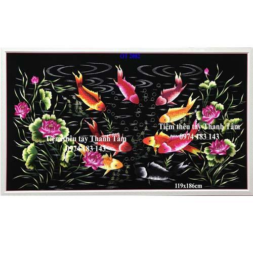 Tranh thêu cá chép hoa sen OT 2082