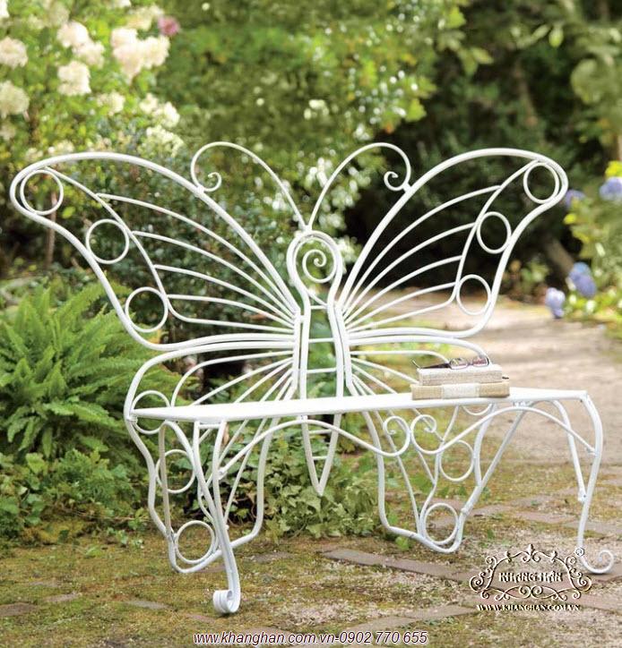 Ghế dài sắt rèn mỹ thuật hình cánh bướm