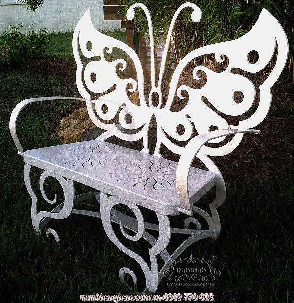 Ghế dài hình cánh bướm sắt mỹ thuật