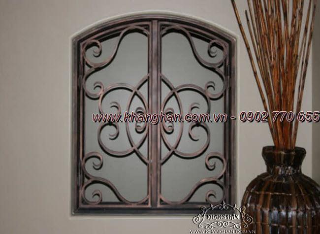 Khung cửa sổ sắt đặc rèn nghệ thuật hoa văn đẹp độc đáo