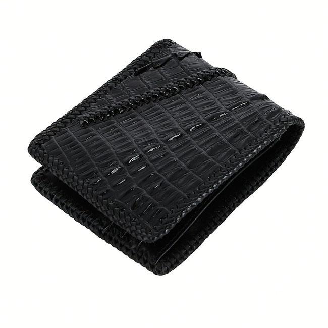 Bóp nam Huy Hoàng da cá sấu đan viền 2 gai màu đen HH2771