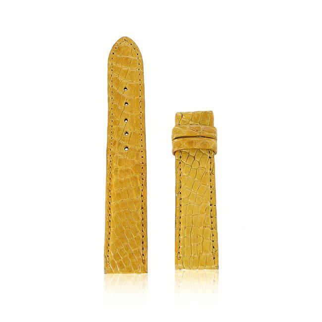 Dây đồng hồ Huy Hoàng da cá sấu màu vàng nghệ HH8256
