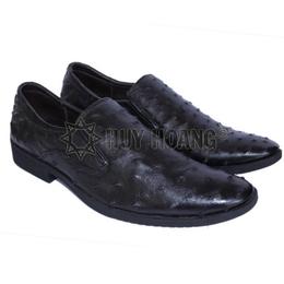 HH7405_Giày nam da đà điểu Huy Hoàng da hột màu đen